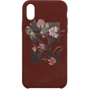Off-White Burgundy Flowers iPhone X Case